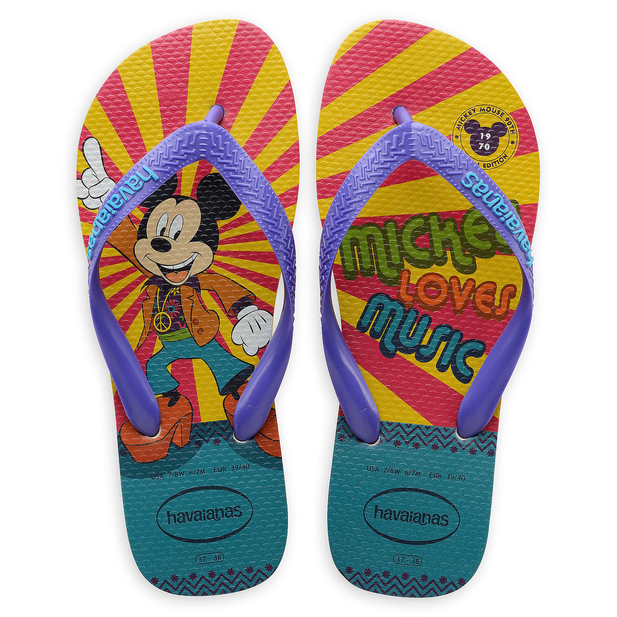 32b0c9f767b Product Image of Mickey Mouse Disco Flip Flops for Adults by Havaianas -  1970s   1