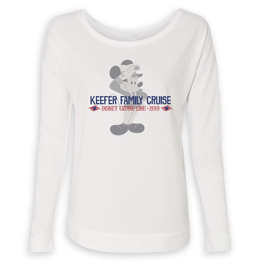 Women's Captain Mickey Mouse Disney Cruise Line Family Cruise 2019 Long Sleeve T-Shirt - Customized