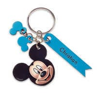 Image of Mickey Mouse Face Leather Keychain - Personalizable # 1