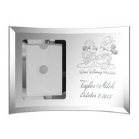 Image of Mickey and Minnie Mouse Glass Frame by Arribas - Personalizable # 1