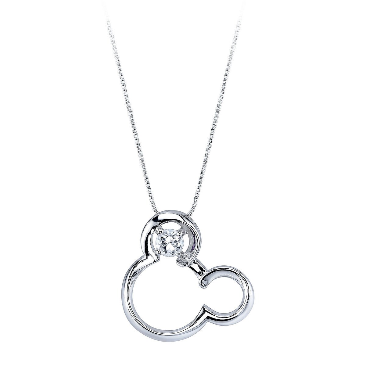 Mickey Mouse April Birthstone Necklace for Women - White Sapphire ...