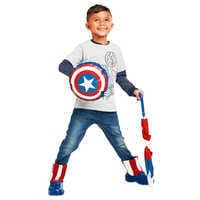 Image of Captain America Packable Rain Jacket and Attached Carry Bag for Kids # 5