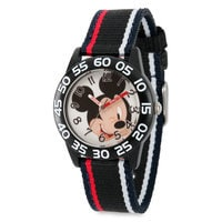 Image of Mickey Mouse Striped Time Teacher Watch - Kids # 1