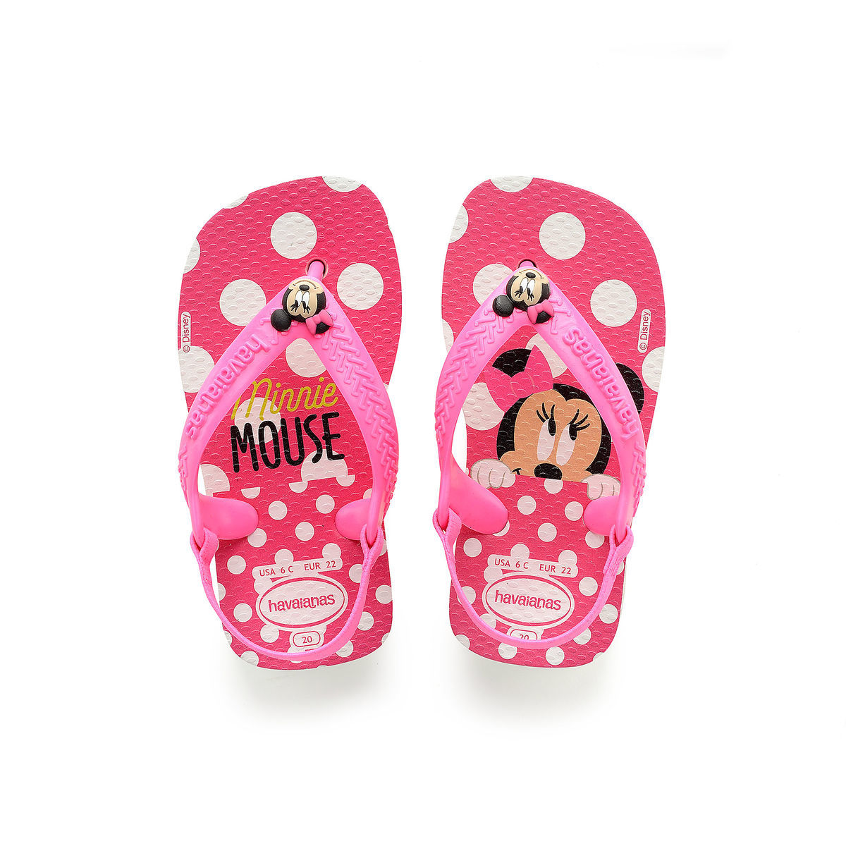 bfde40fcf863e0 Product Image of Minnie Mouse Pink Flip Flops for Baby by Havaianas   1