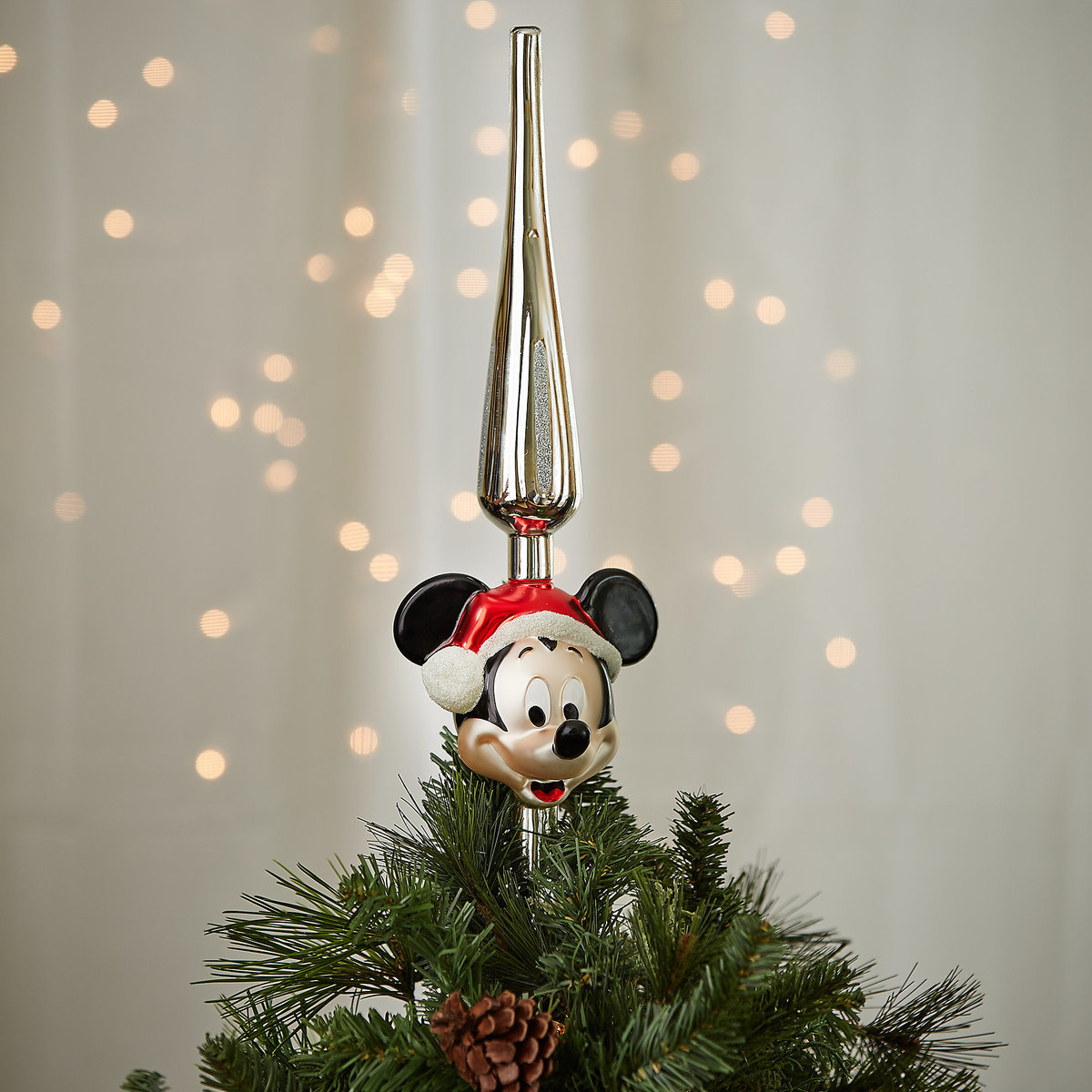 santa mickey mouse glass tree topper - Glass Christmas Tree Topper