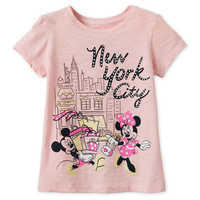 Image of Mickey and Minnie Mouse Shopping T-Shirt for Girls - New York City # 1