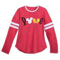 Image of Mickey Mouse Long Sleeve Love Shirt for Women # 1