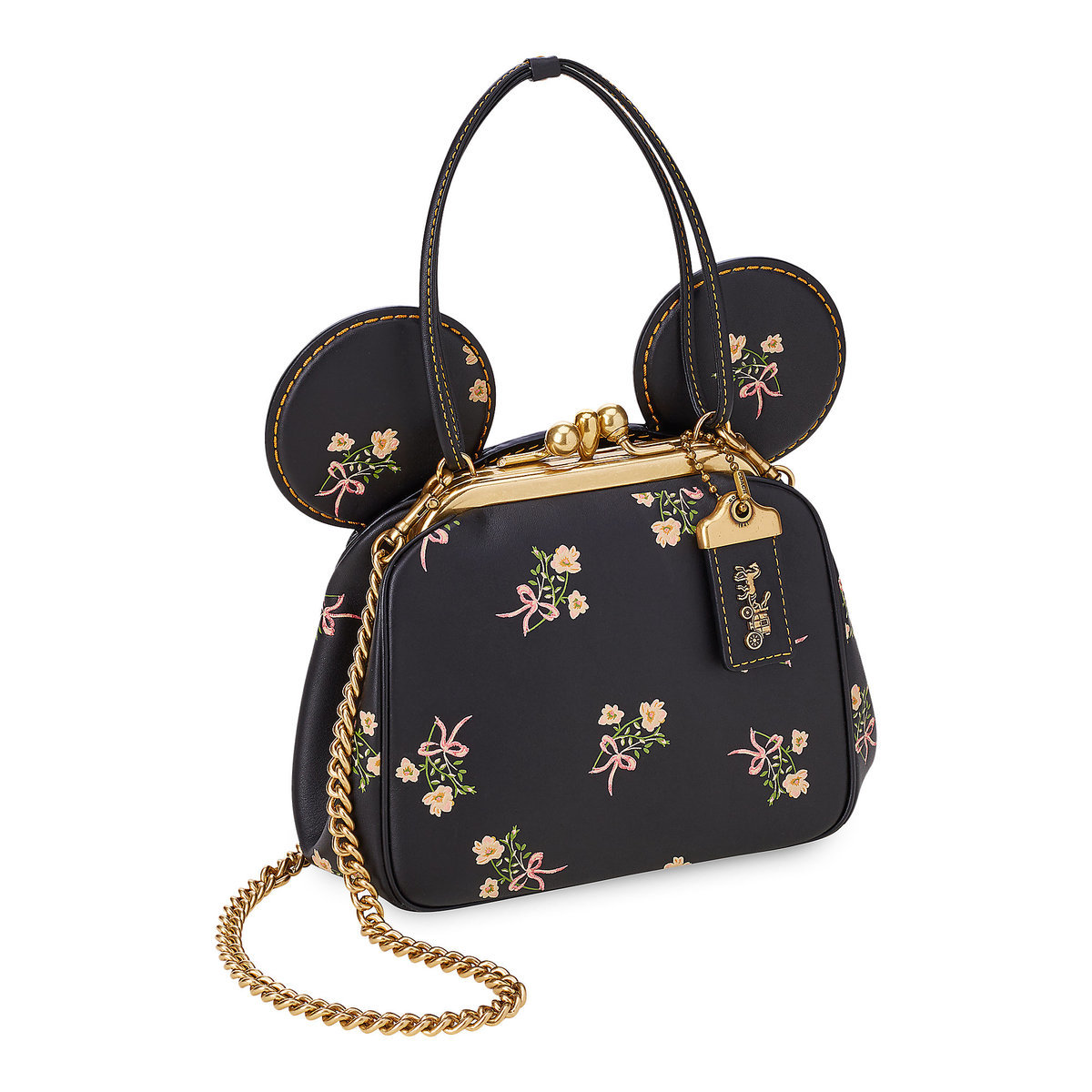 6e55665a880 Minnie Mouse Floral Kisslock Leather Bag by COACH - Black