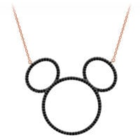 Mickey Mouse Pave Icon Necklace by CRISLU - Rose Gold - Large