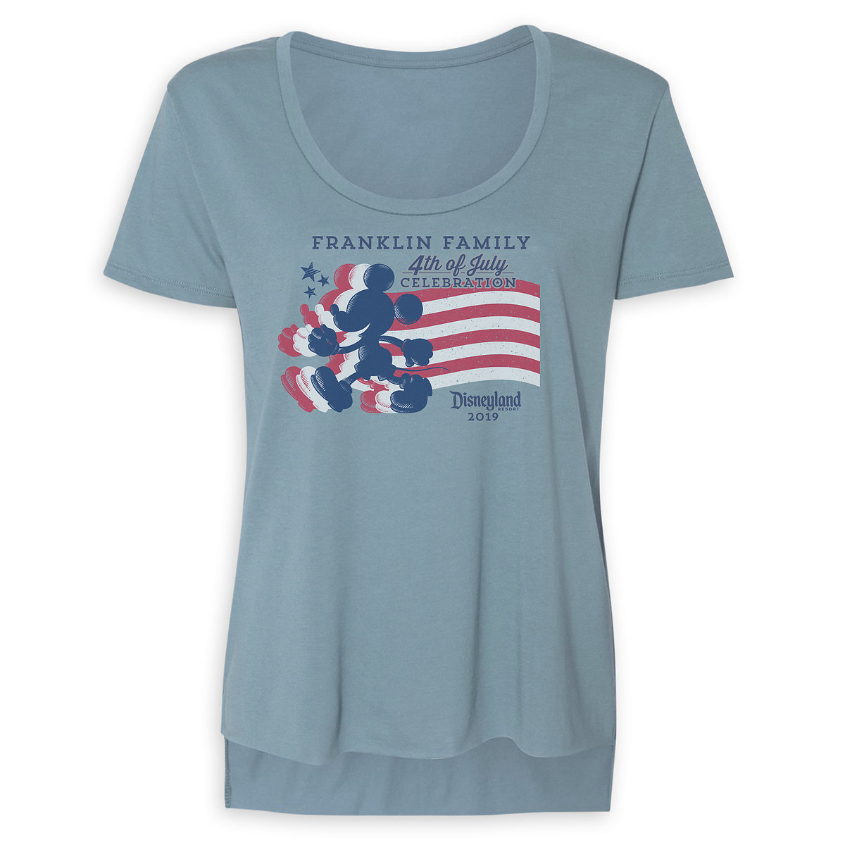 dcd5aef68 Women's Mickey Mouse Silhouette 4th of July Scoop Neck T-Shirt - Disneyland  - Customized
