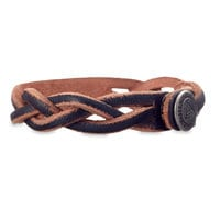 Mickey Mouse Icon Braided Leather Bracelet - Personalizable