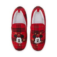 Image of Mickey Mouse Plaid Holiday Slippers for Adults # 4