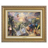 Image of ''Beauty and the Beast Falling in Love'' Framed Canvas Classic by Thomas Kinkade # 1