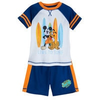 Image of Mickey Mouse and Pluto ''Surf'' Shorts Sleep Set for Boys # 1