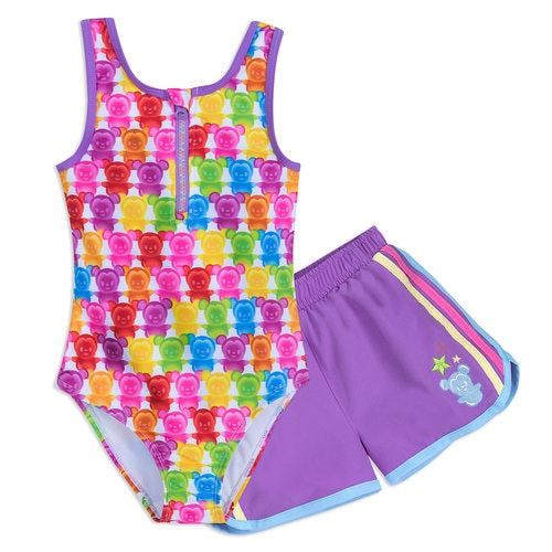 Mickey and Minnie Mouse Swimsuit and Shorts Set for Girls