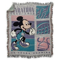 Mickey Mouse runDisney Walt Disney World Marathon 25th Anniversary Woven Tapestry Throw