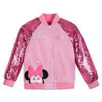 Image of Minnie Mouse Pink Sequin Varsity Jacket - Personalized # 1