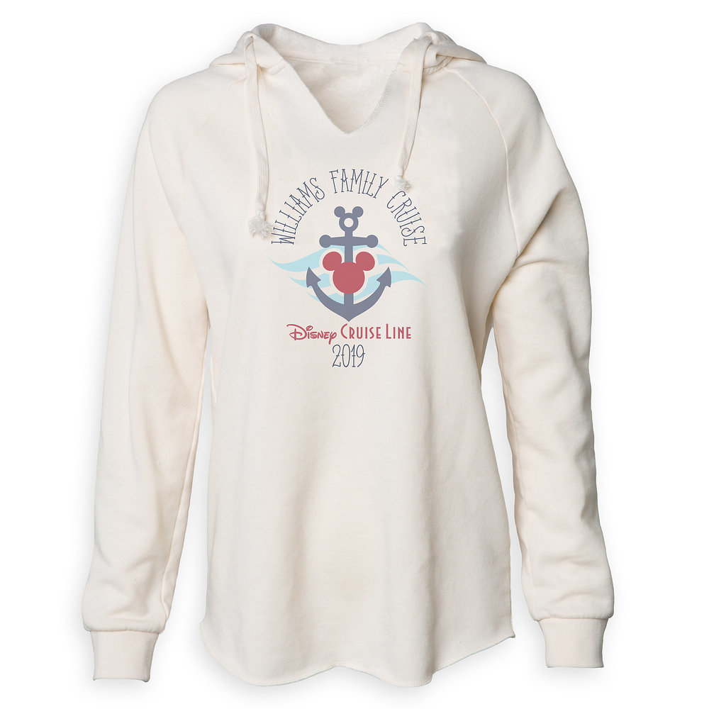 Women's Disney Cruise Line Anchor Family Cruise 2019 V-Neck Pullover Hoodie - Customized
