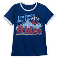 Image of Disney Parks ''I'm here for the Rides'' Ringer T-Shirt for Women # 1