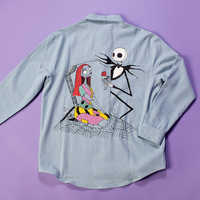 Image of Jack Skellington and Sally Denim Shirt for Adults by Cakeworthy # 4