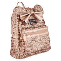 Image of Minnie Mouse Sequined Mini Backpack by Loungefly - Rose Gold # 1
