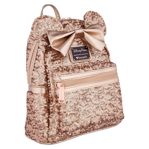 Minnie Mouse Sequined Mini Backpack by Loungefly - Rose Gold