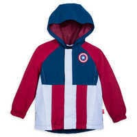 Image of Captain America Packable Rain Jacket and Attached Carry Bag for Kids # 1