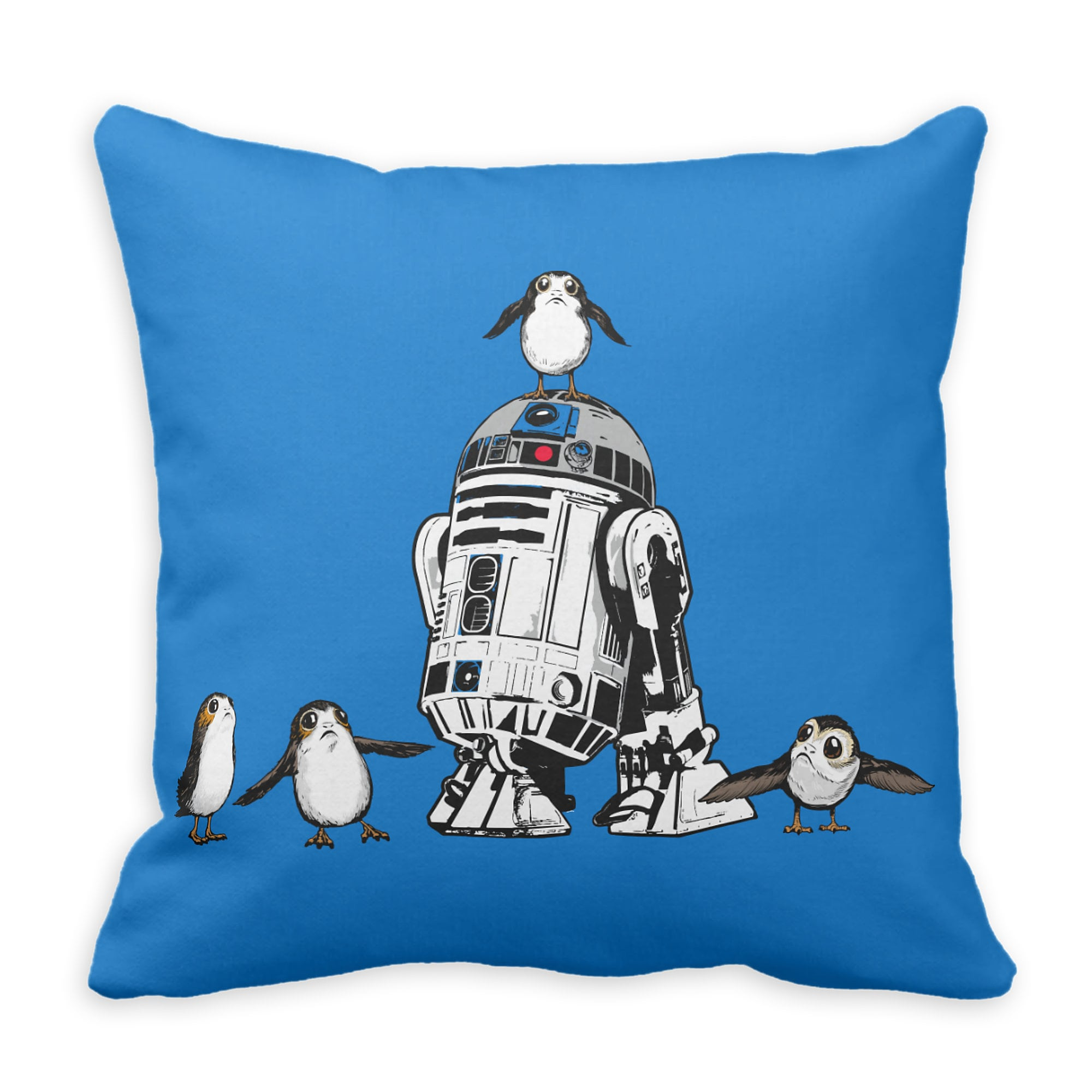 R2-D2 and Porgs Pillow - Star Wars: The Last Jedi - Customizable