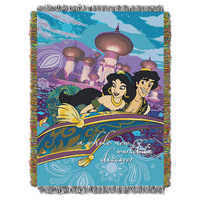 Image of Aladdin and Jasmine Woven Tapestry Throw # 1