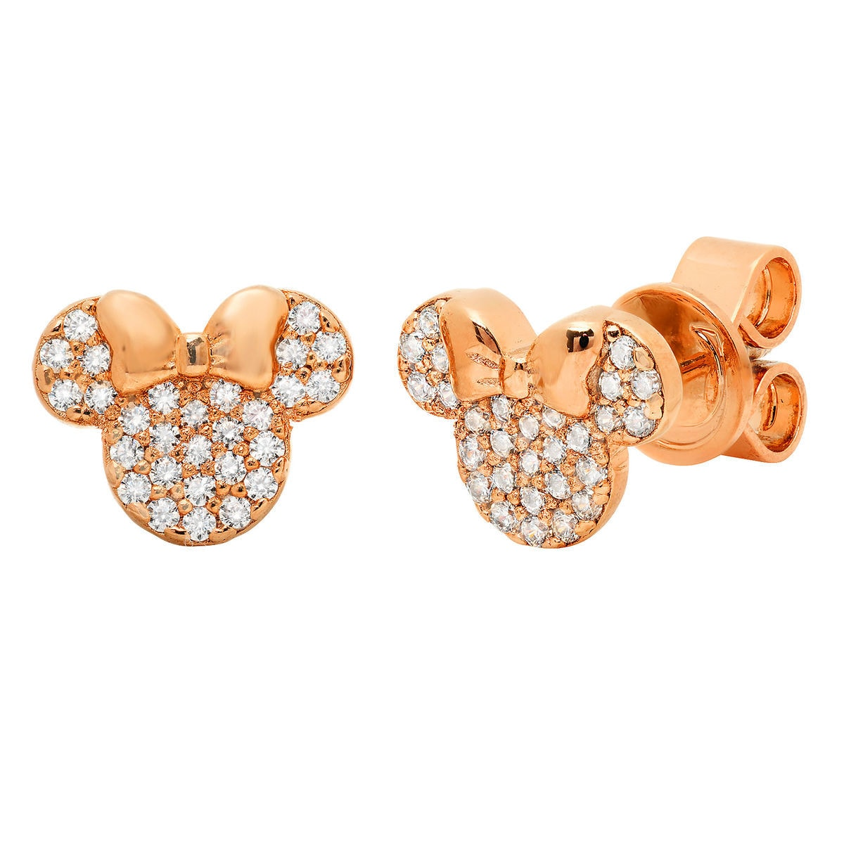 Product Image Of Minnie Mouse Icon Stud Earrings By Crislu Rose Gold 1