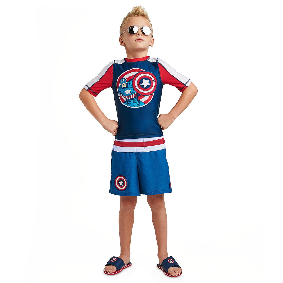c130321b61 Product Image of Captain America Swim Trunks for Kids # 2