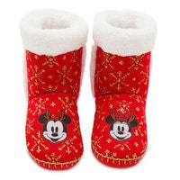 Mickey and Minnie Mouse Holiday Boot Slippers for Women