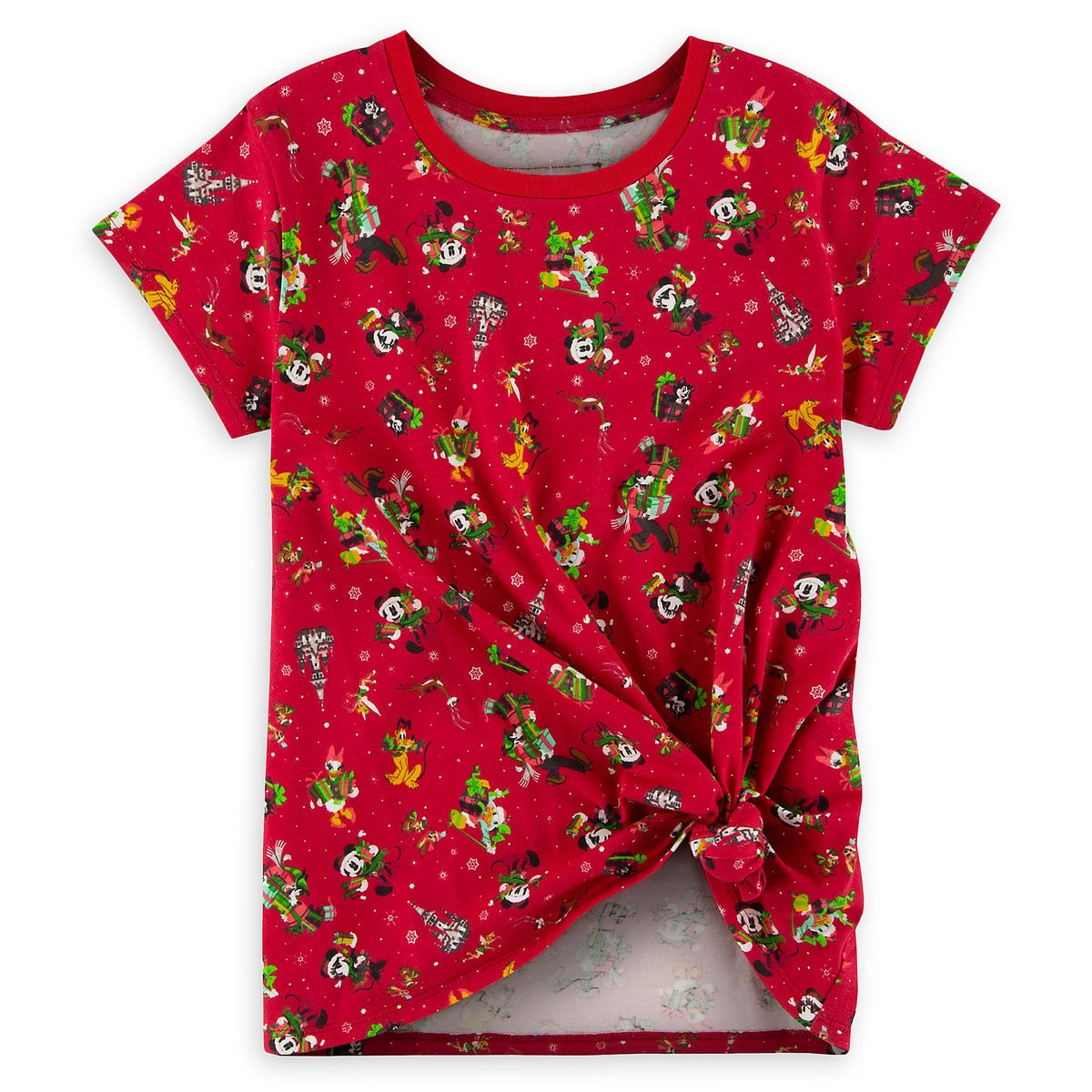 81639e6ba79c59 Product Image of Mickey Mouse and Friends Knotted Holiday T-Shirt for Girls  - Walt