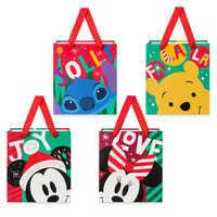 Image of Santa Mickey Mouse and Friends Small Gift Bag Set # 1