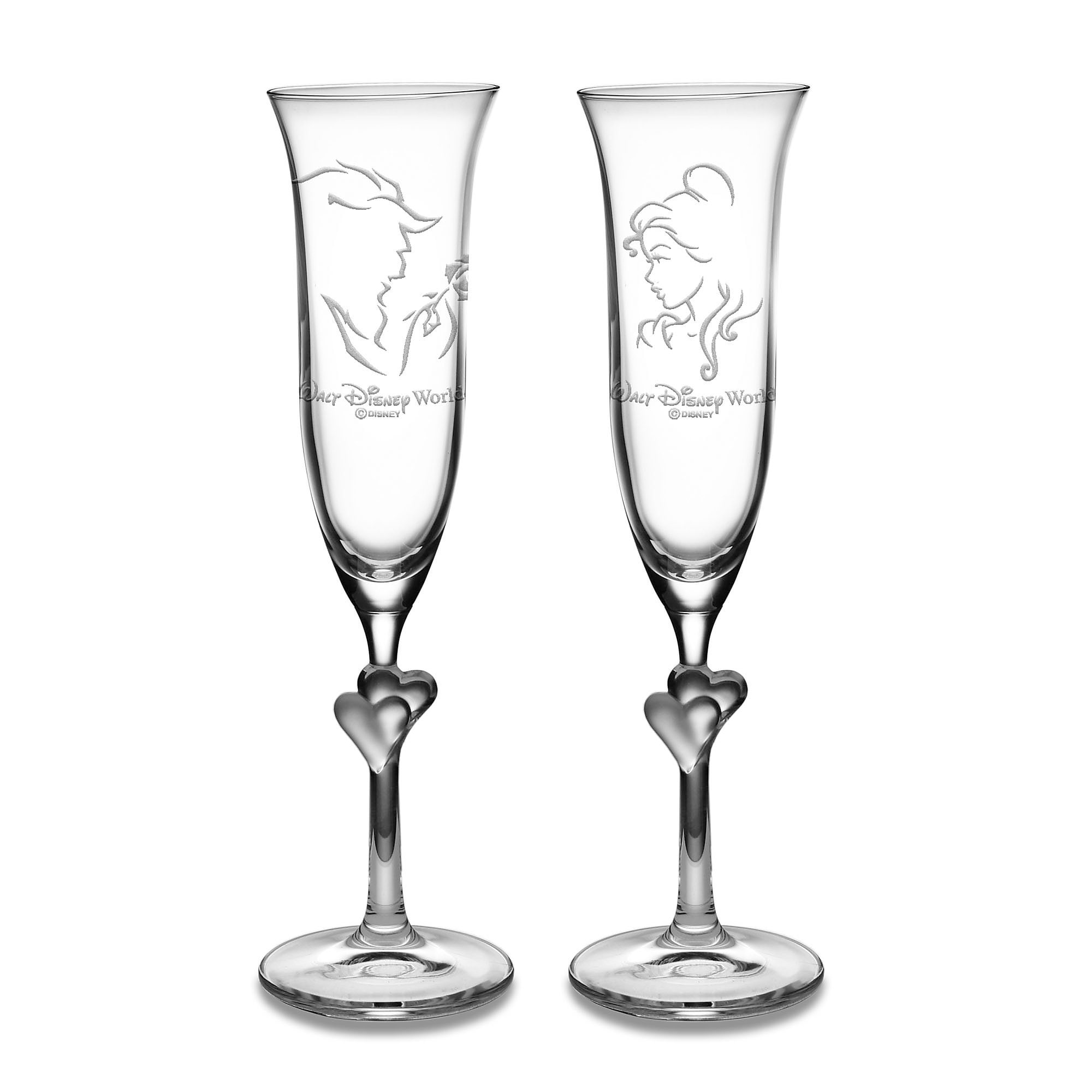 cb316a2cef Beauty and the Beast Glass Flute Set by Arribas - Personalizable ...