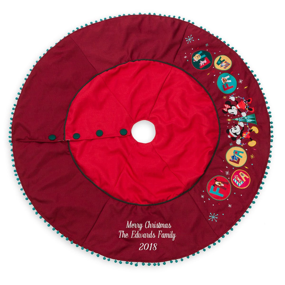 f5eb77fd13bc Mickey and Minnie Mouse Holiday Tree Skirt - Personalizable