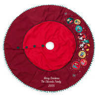 Image of Mickey and Minnie Mouse Holiday Tree Skirt - Personalizable # 1