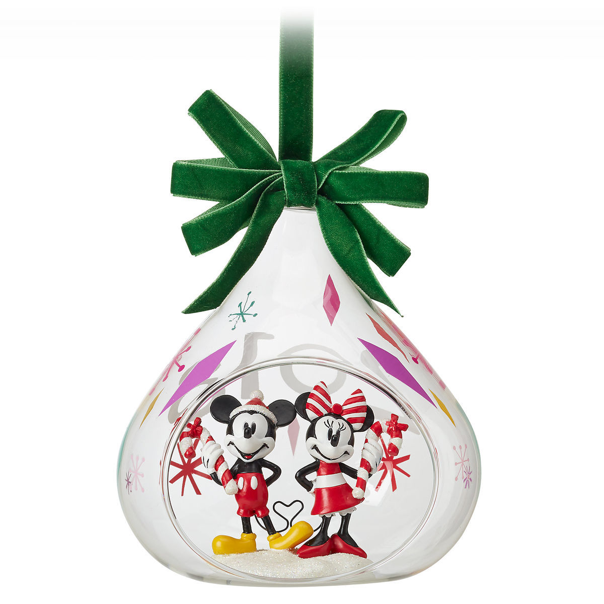 Product Image of Mickey and Minnie Mouse Holiday Glass Drop Ornament 2018 # 1