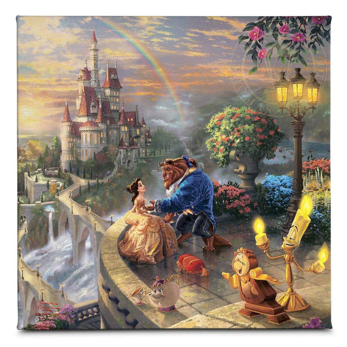 Beauty and the beast falling in love gallery wrapped canvas by thomas kinkade