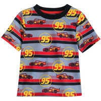 Image of Lightning McQueen Striped Shorts Sleep Set for Boys # 2