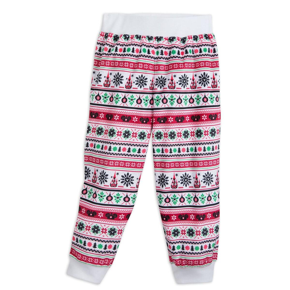cd585f8d91 Product Image of Santa Mickey Mouse Ear Hat Fair Isle Pajama Pants for Kids  - Cream
