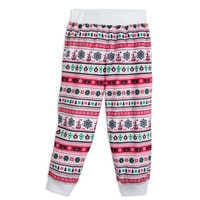 Image of Santa Mickey Mouse Ear Hat Fair Isle Pajama Pants for Kids - Cream # 1