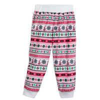 Image of Santa Mickey Mouse Ear Hat Fair Isle Pajama Pants for Kids - Cream # 1