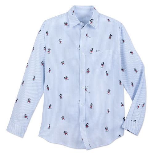 Mickey Mouse Striped Button Shirt for Men