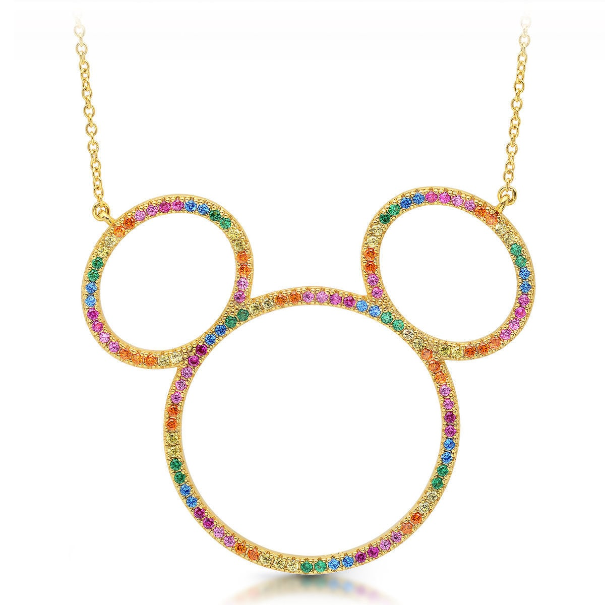 Product Image Of Mickey Mouse Rainbow Icon Outline Necklace By CRISLU 1