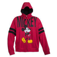 Image of Mickey Mouse Zip-Up Hooded Fleece for Adults # 1