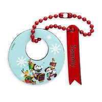 Image of Santa Mickey Mouse and Friends Leather Luggage Tag - Personalizable # 1