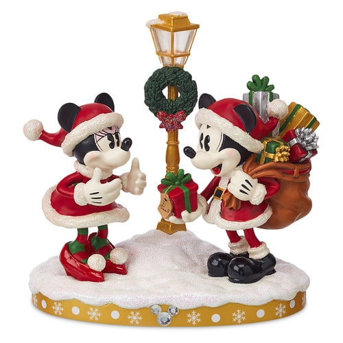 Santa Mickey And Minnie Mouse Holiday Light Up Figurine