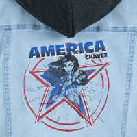 Image of America Chavez Hooded Denim Jacket Top for Girls - Marvel Rising # 3