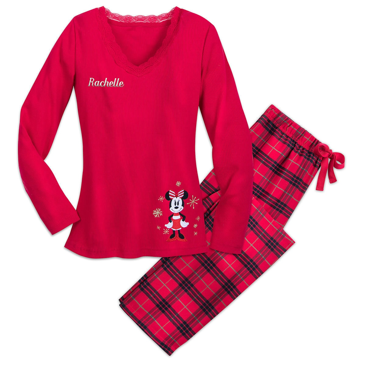 bee50394e Minnie Mouse Holiday Plaid PJ Set for Women - Personalizable ...